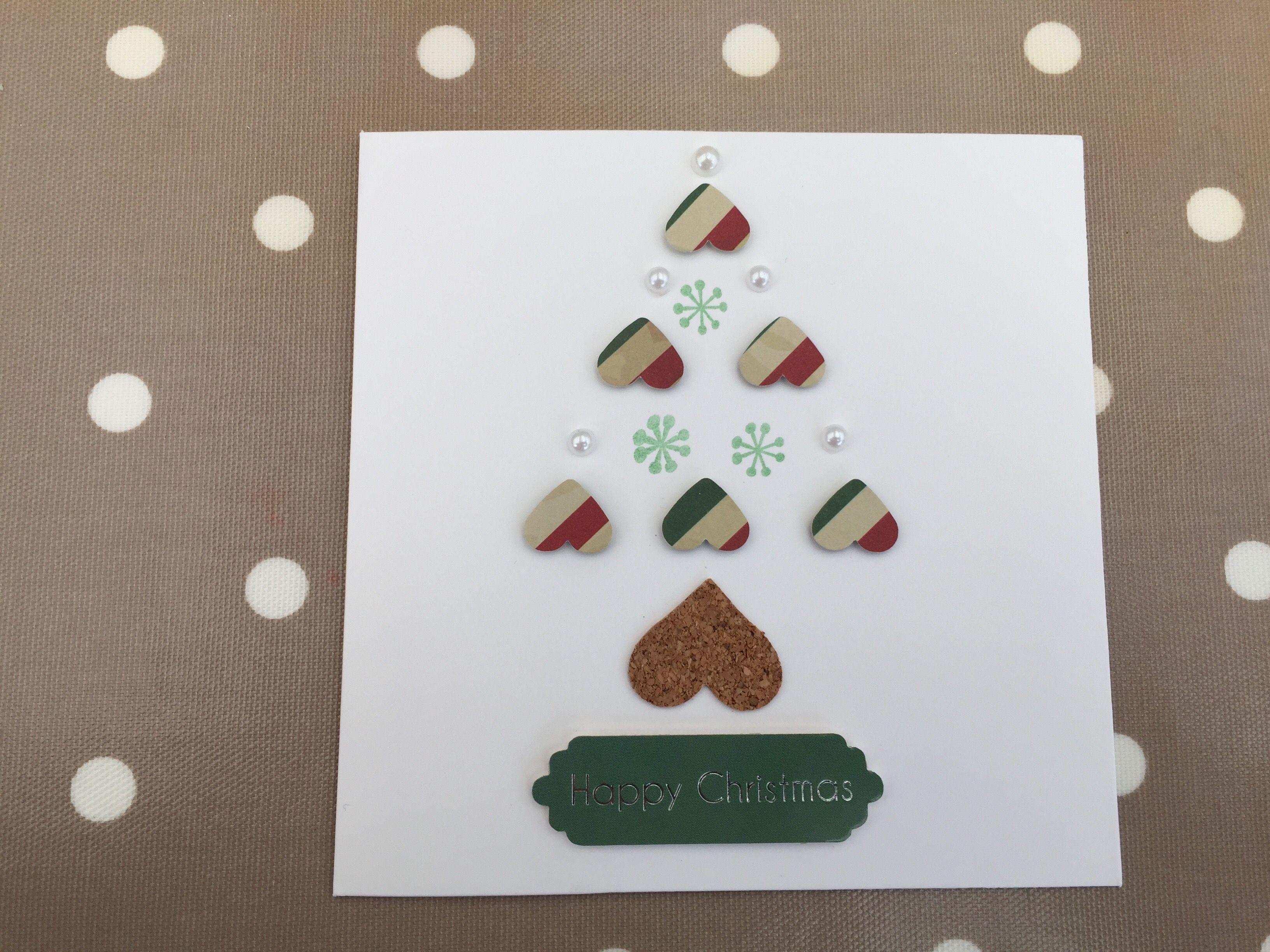 Homemade Christmas Card featuring stamping, patterned paper, heart ...
