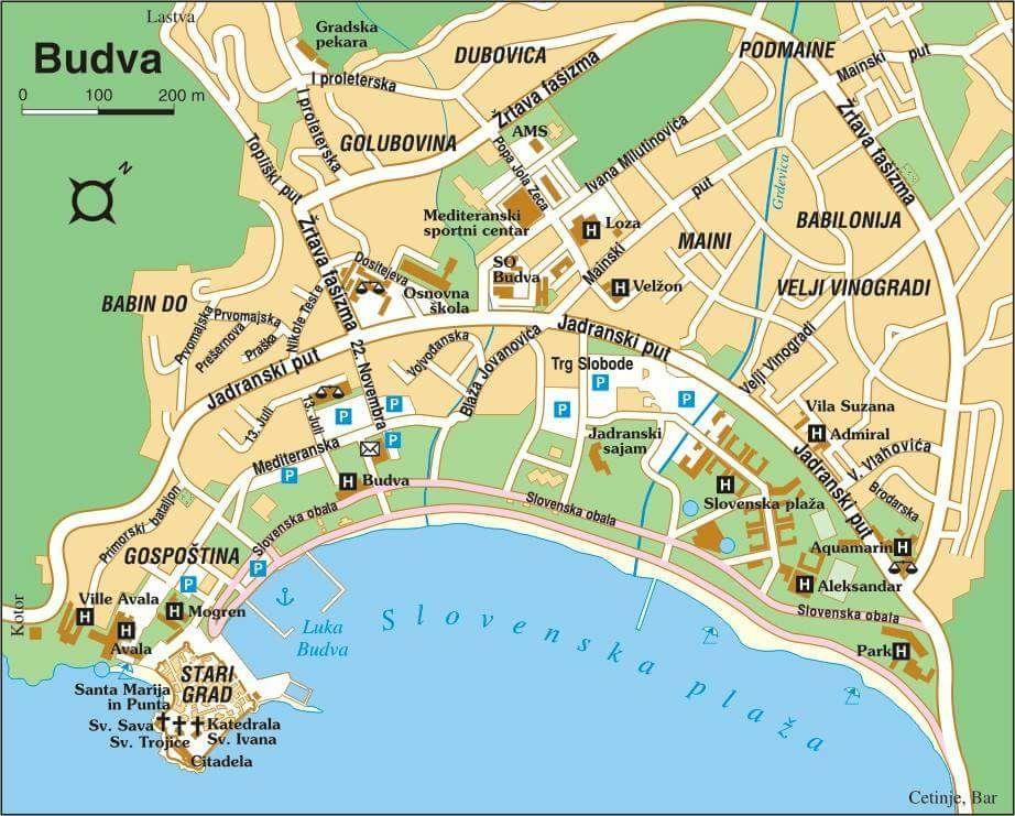 Tourist Map Of Budva With Images Tourist Map