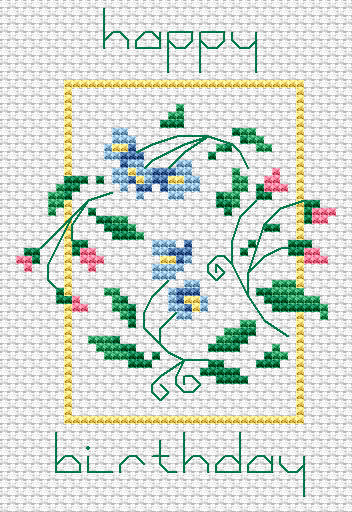 Completed Cross Stitch Ideal for Card Making or Scrap Booking. Happy Birthday Cocktail Design