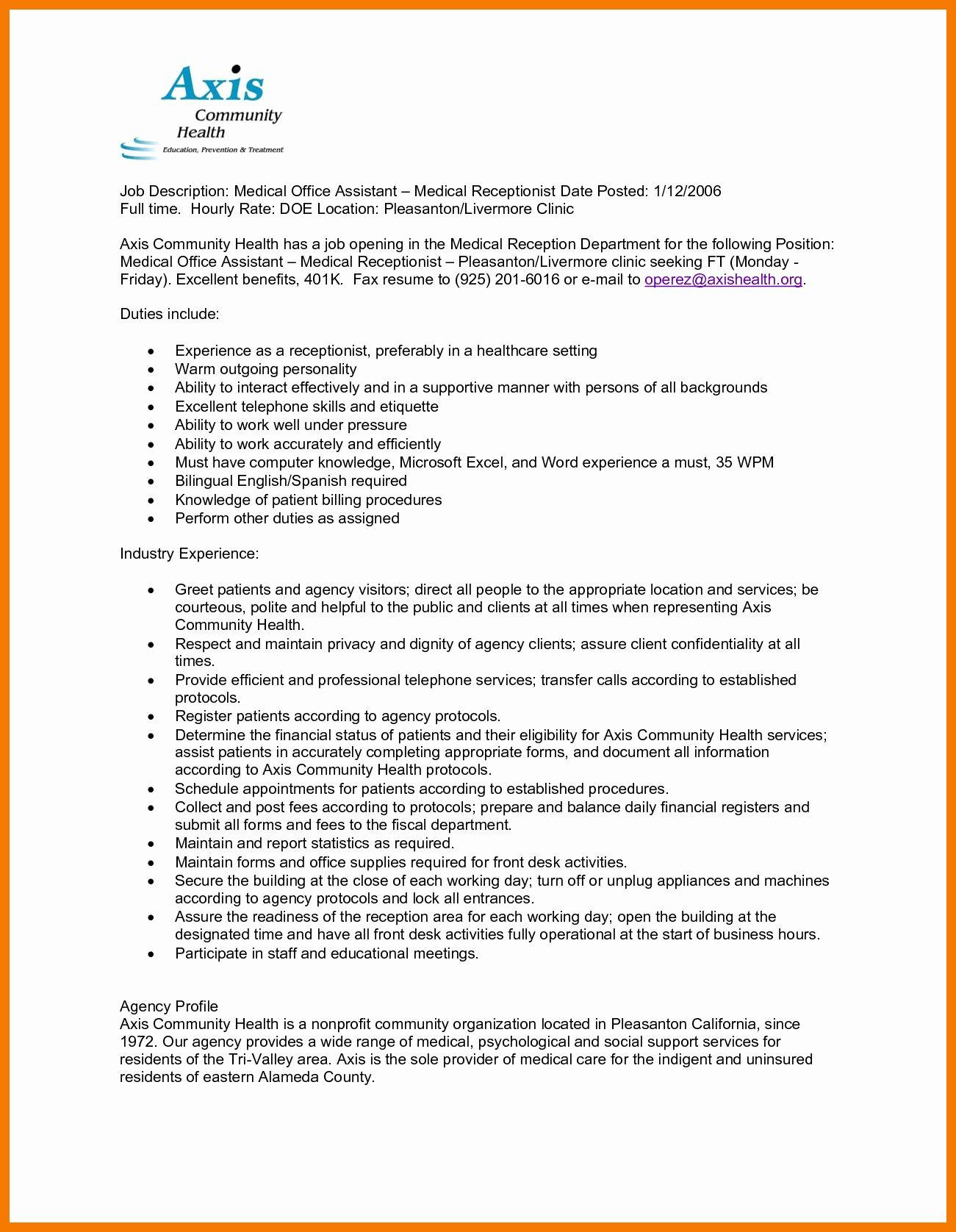 Concierge Job Description Resume New 12 13 Receptionist Tasks For Resume Job Description Job Resume