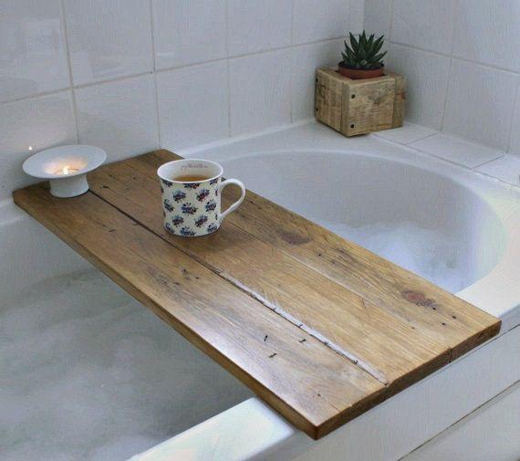 Bath tray reclaimed wood tray. bath caddy. bath shelf.bathroom decor ...