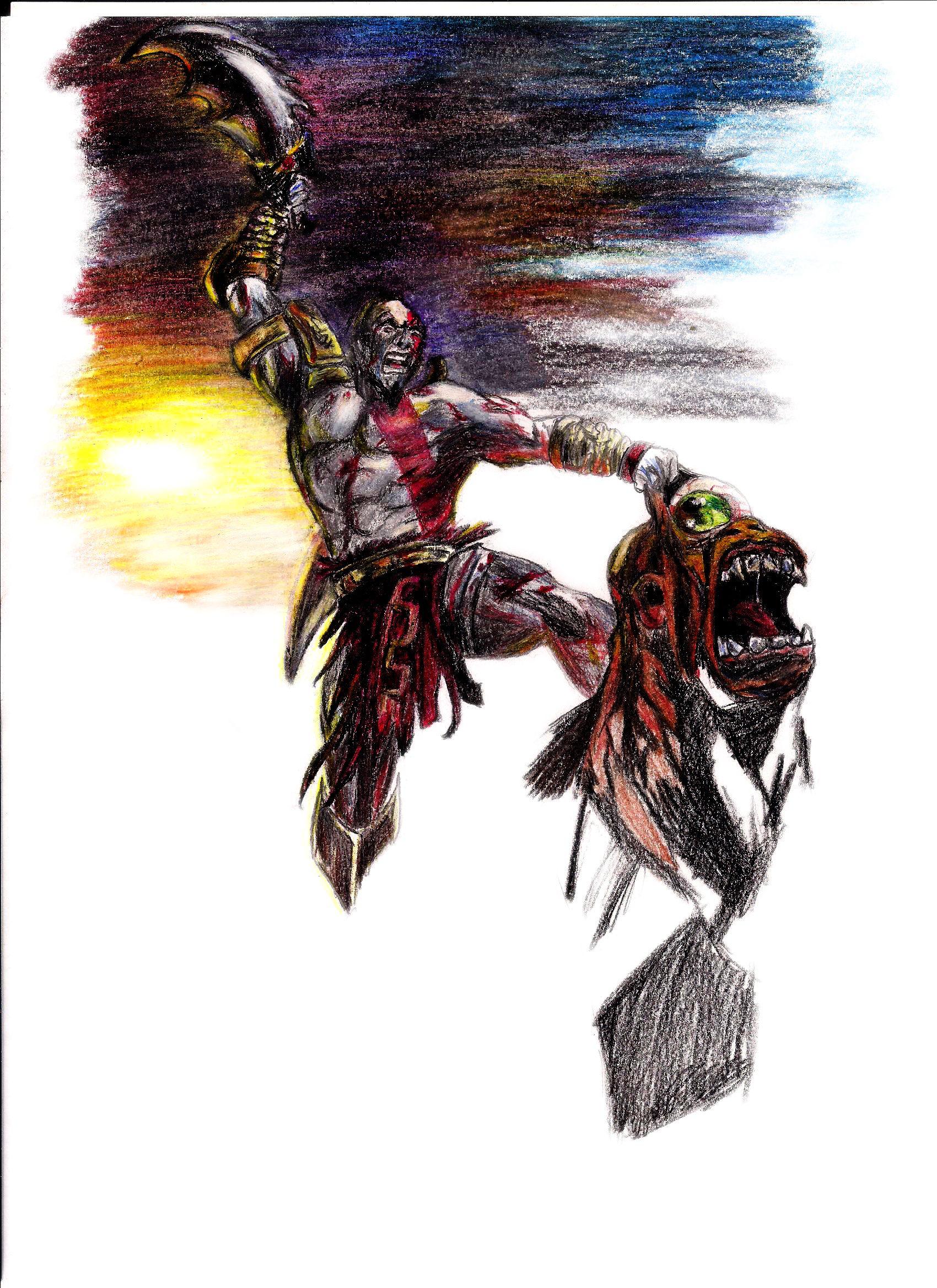 Kratos God Of War Passo 1 Desenho Livre Com Grafite E Lapis