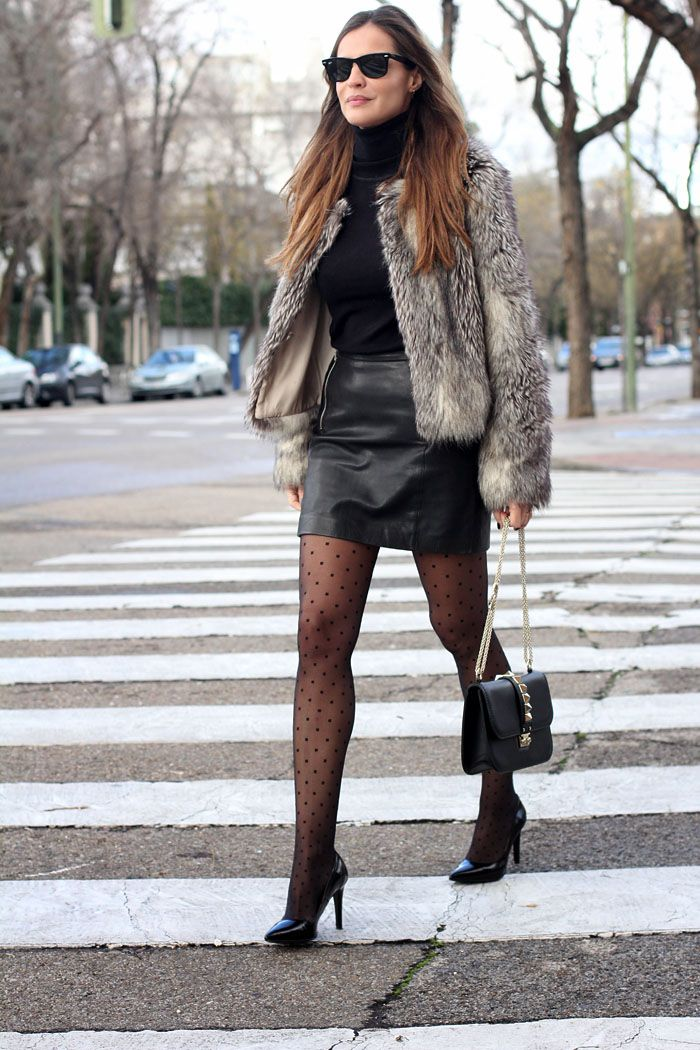 leather skirt and coat looks - Lady Addict