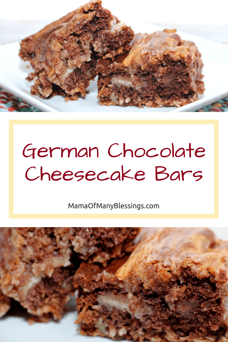 German Chocolate Cheesecake Bars #germanchocolatecheesecake Combine the flavor of German Chocolate Cake with cheesecake. This EASY German Chocolate Cheesecake Bar recipe will change the way that you think about cheesecake...in a good way! via @mamaofmanyblessings #chocolate #germanchocolate #cheesecakebars #dessert #recipes #inspirationspotlight #dearcreatives #desserts #germanchocolatecheesecake