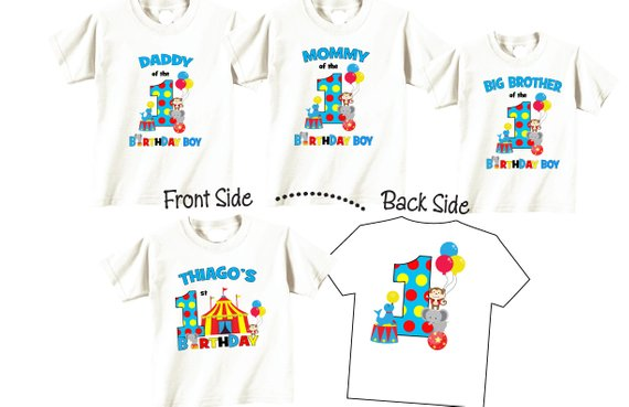 f9ce827c Birthday Shirts for Mom and Dad, Sibling and Birthday Child Family Birthday  Set with Circus