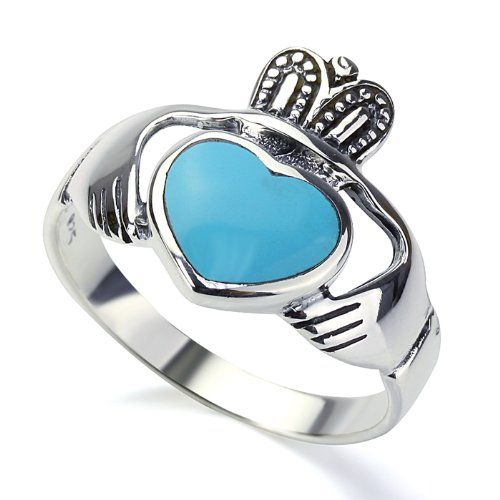 Rhodium Plated Sterling Silver Wedding  Engagement Ring Turquoise Claddagh Ring 18MM ( Size 8 to 12) -