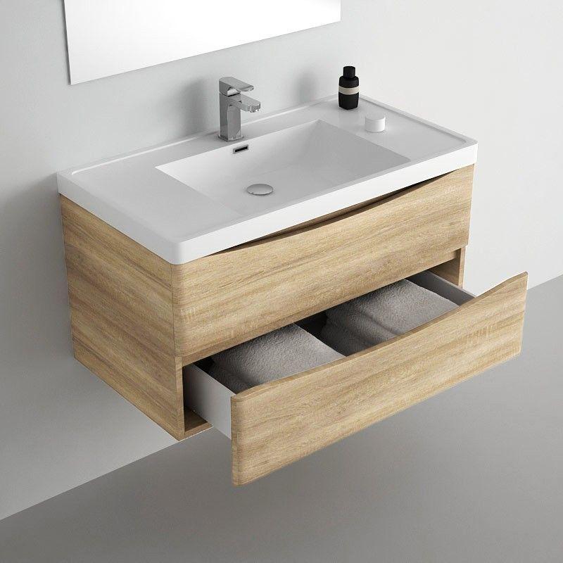 Meuble salle de bain 90 cm Chêne, 2 tiroirs, plan composite, Nature - Meuble De Salle De Bain Sans Vasque