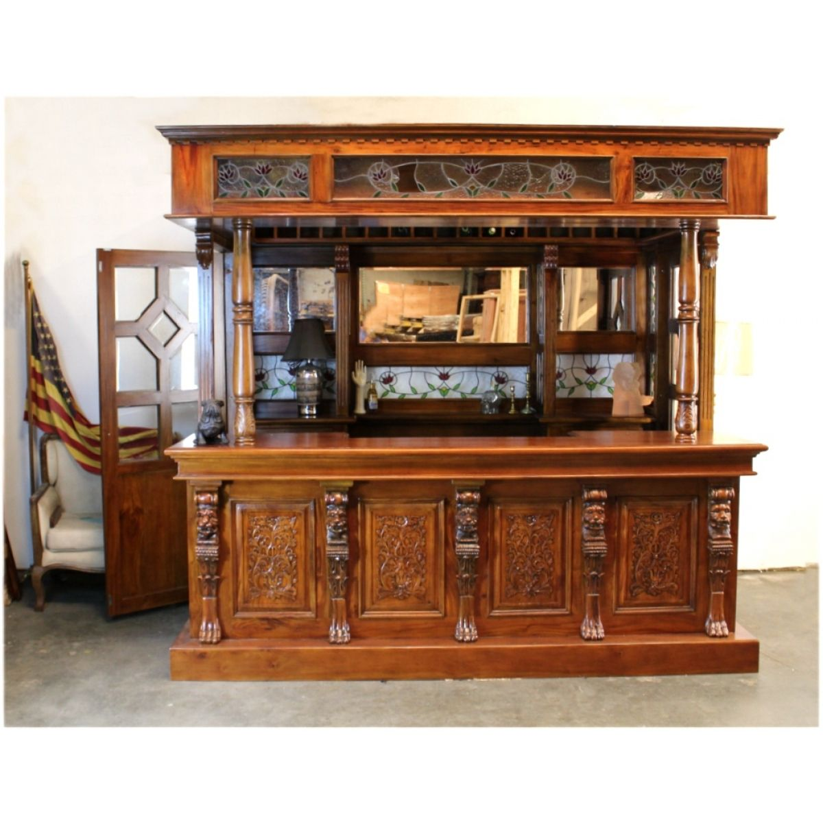 Tiffany glass canopy bar tavern pub furniture with wine racks lion crest antique full size - Bar canopy designs ...