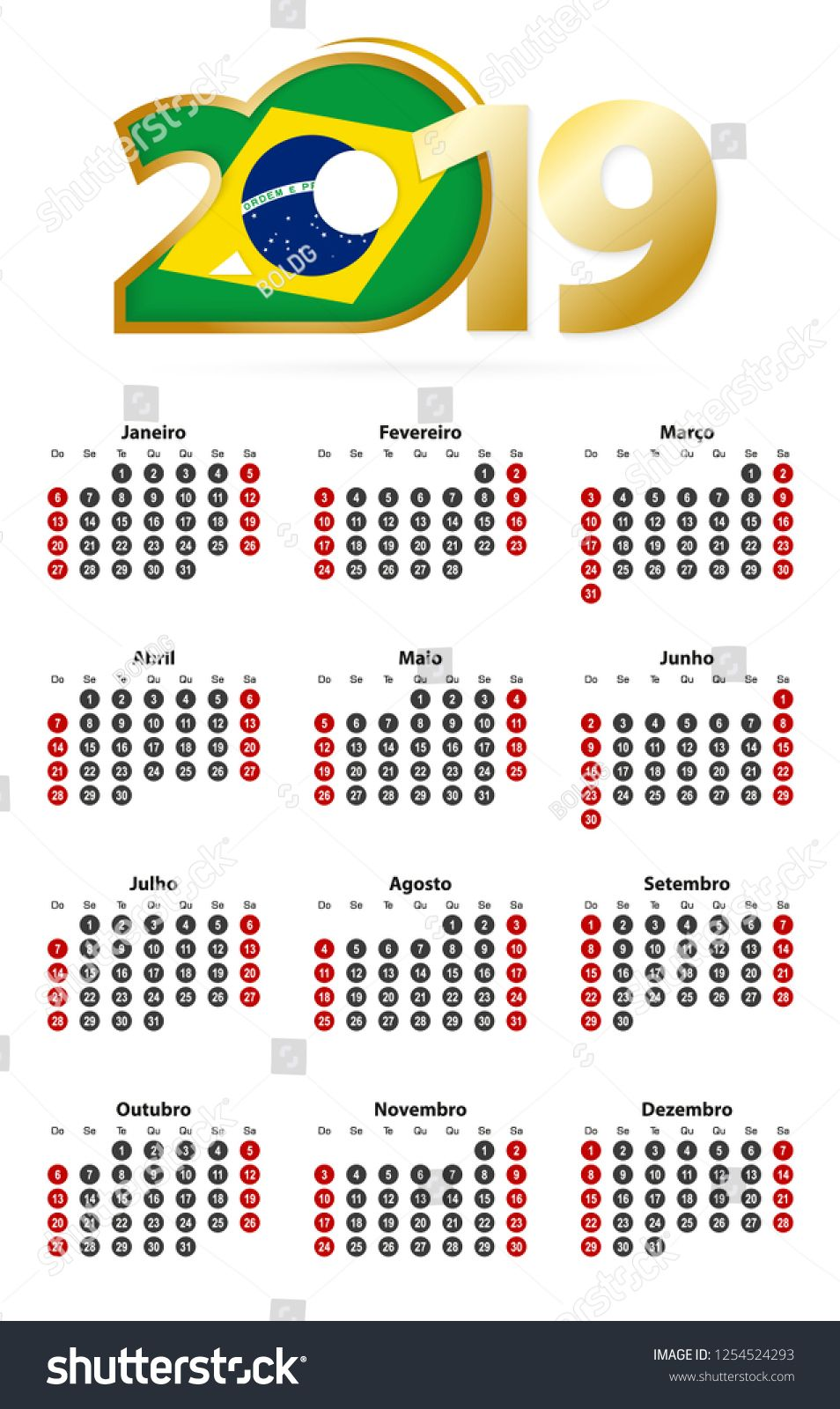 Portuguese Calendar 2019 With Numbers In Circles Week Starts On Sunday 2019 With Flag Of Brazil Numbers Circles Portuguese Calendar Calendar Circle Tutorial
