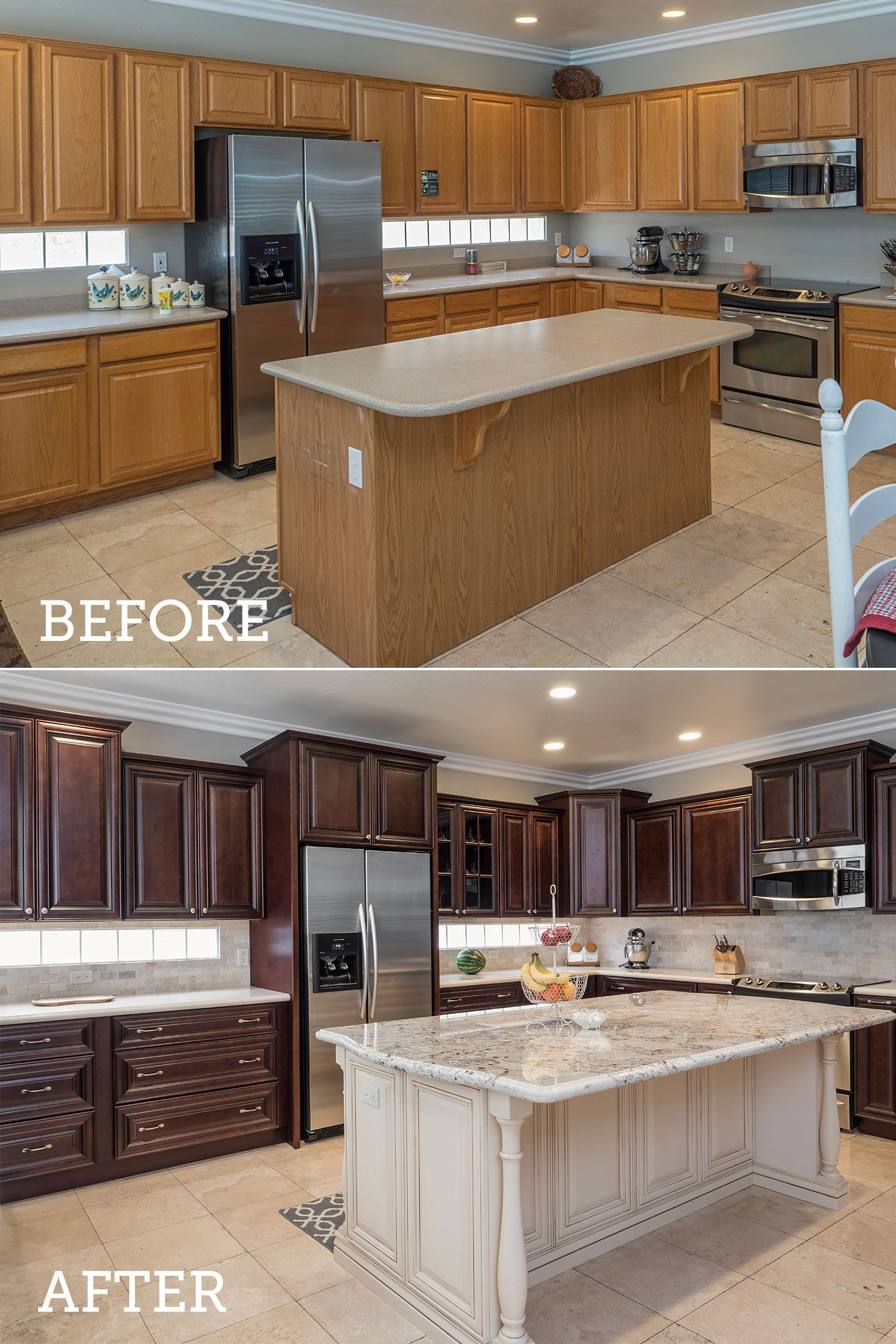 See The Transformation Of This Kitchen From Before And After Our Delaware Peppercorn Cabinets From The Value Series Are Birch Cabinets Kitchen Quality Cabinets