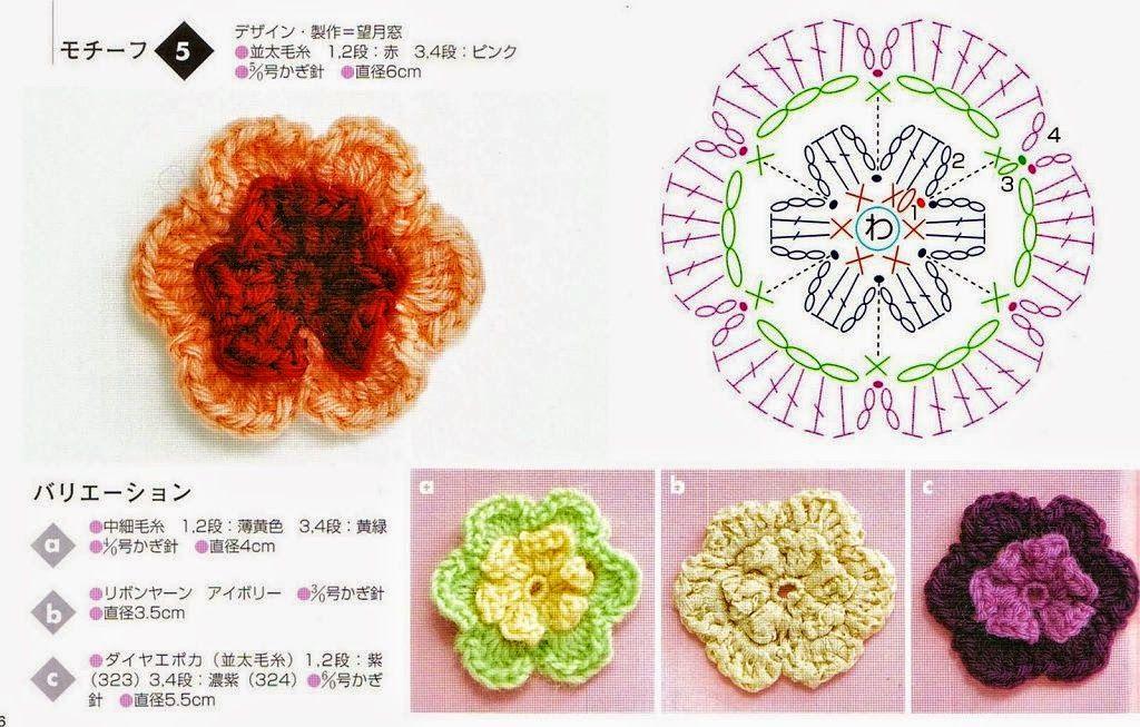 Patrones de dos flores de origen japonés para tejer con ganchillo ...