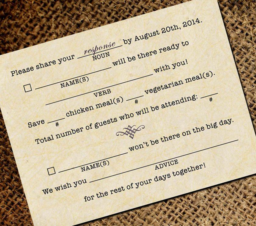 mad libs inspired vintage typewriter wedding rsvp by