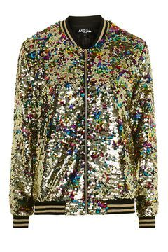 6e53aa35 Rainbow Sequin Bomber by Jaded | money-no-object wishlist! | Brown ...