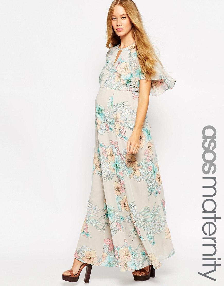 Short sleeve flutter sleeve maternity maxi dress