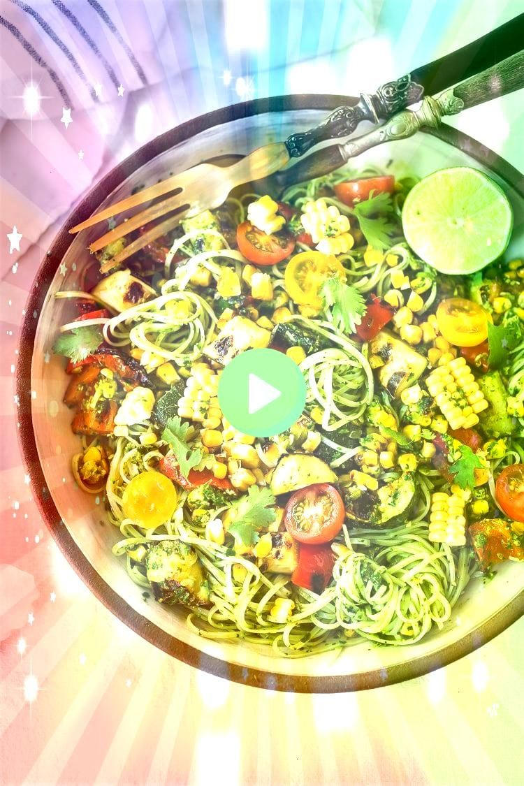 Pasta Salad w Grilled Zucchini Corn and Cilantro Pesto is made with glutenfree rice noodles and loaded up with healthy summer veggies then tossed in the most flavorful Ci...