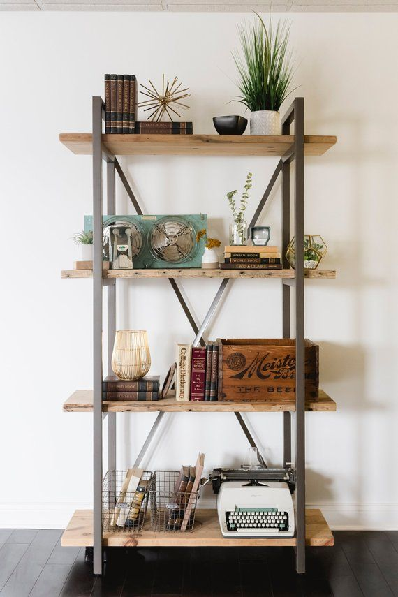 Free Standing Wall Shelves Reclaimed Wood Book With Steel X Support And Brackets You Choo
