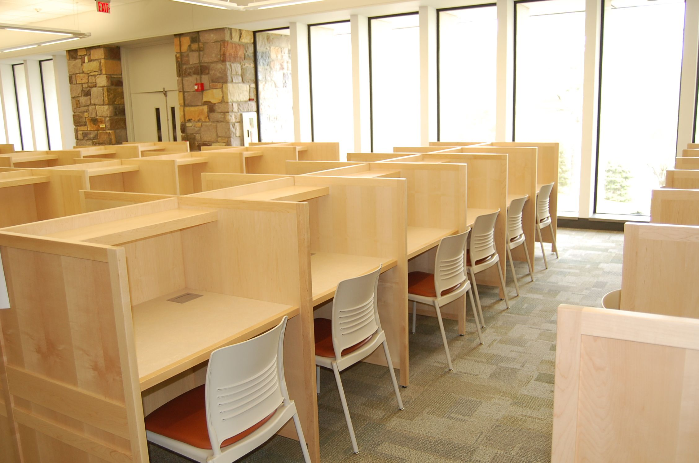 Traditional Study Carrels With Power/USB Ports In Work Surface By AGATI  Furniture Students Still