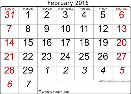 Printable Calendar February 2016 Traditional Traditional