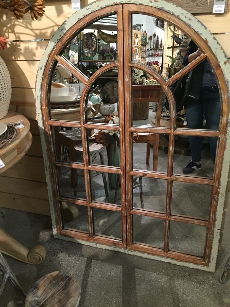 Fabulous Oversized Large Reclaimed Wood Arched Window Pane Mirror