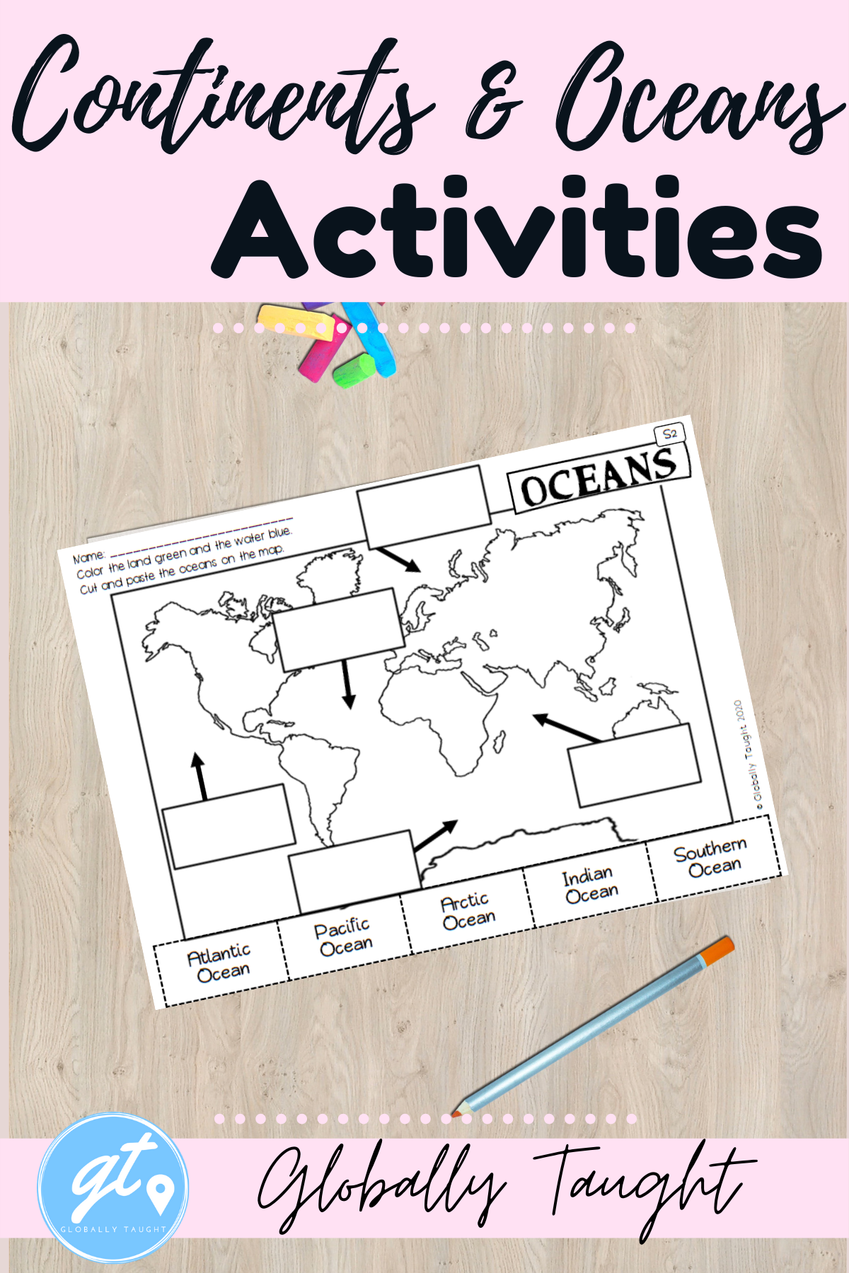 Continents And Oceans Printable Activities In