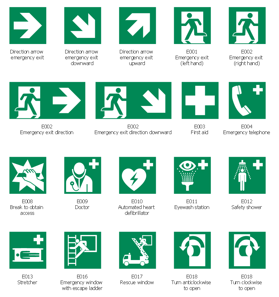 Design Elements By Cso Conceptdraw Iso 7010 Safe Condition Signs Firesafety Emergency Ffloorplan Alarmsigns Elec Emergency Plan Emergency How To Plan