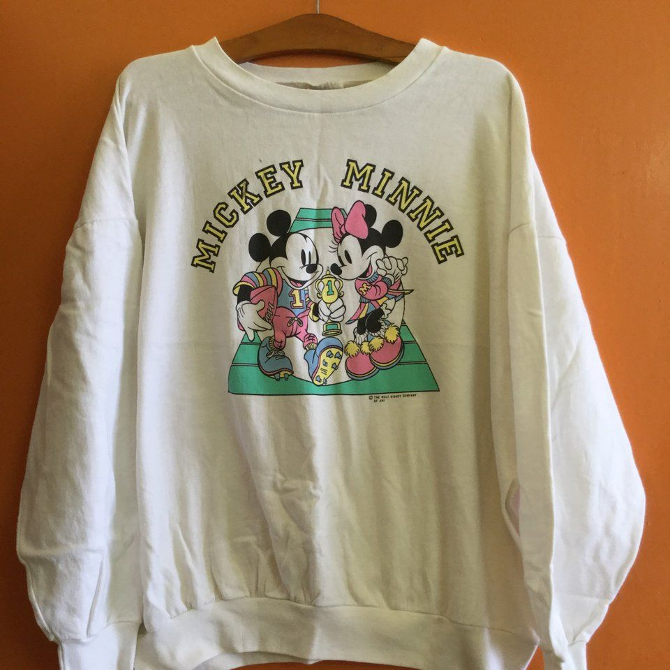 19da082fe2be Vintage Mickey And Minnie Sweatshirt Tag brand: Allison, in - Depop