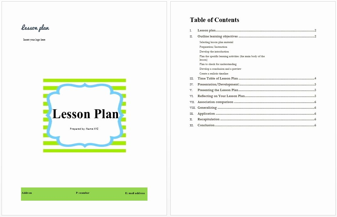 new word lesson plan template in 2020
