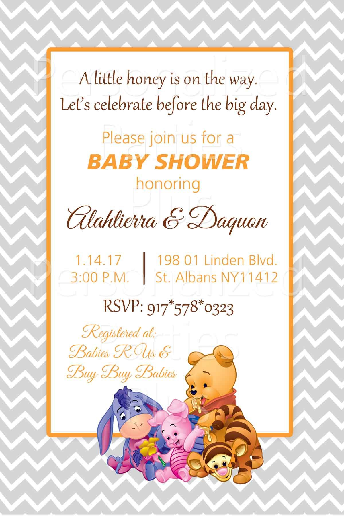 Winnie the Pooh baby shower invitation | Shower invitations, Babies ...
