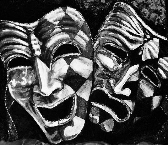 Skull Drama Face Tattoo: Theater Mask Tattoo, Drama Masks, Mask Drawing