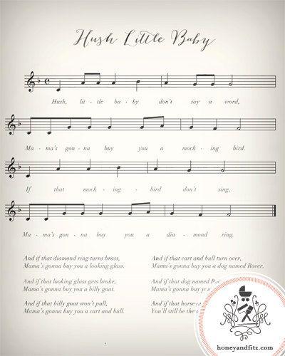 Twinkle Twinkle Little Star Free Sheet Music For Piano: Lullaby Sheet Music Nursery Prints Twinkle Twinkle By