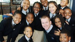 Teacher Ron Clark is pictured with his students.