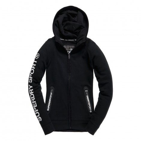 Superdry Gym Tech Ziphood fitness vest dames black