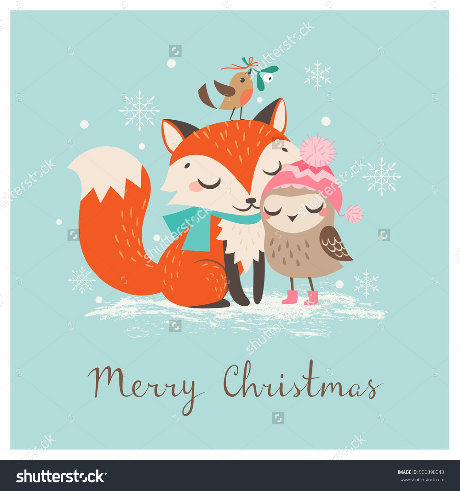 Cute Christmas Greeting Card With Fox And Owl Cards Pinterest