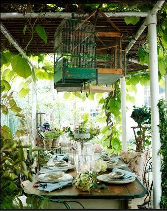 What a charming old world style of patio.  Can you hear the gentle music, the aromatic flowers, laughter.
