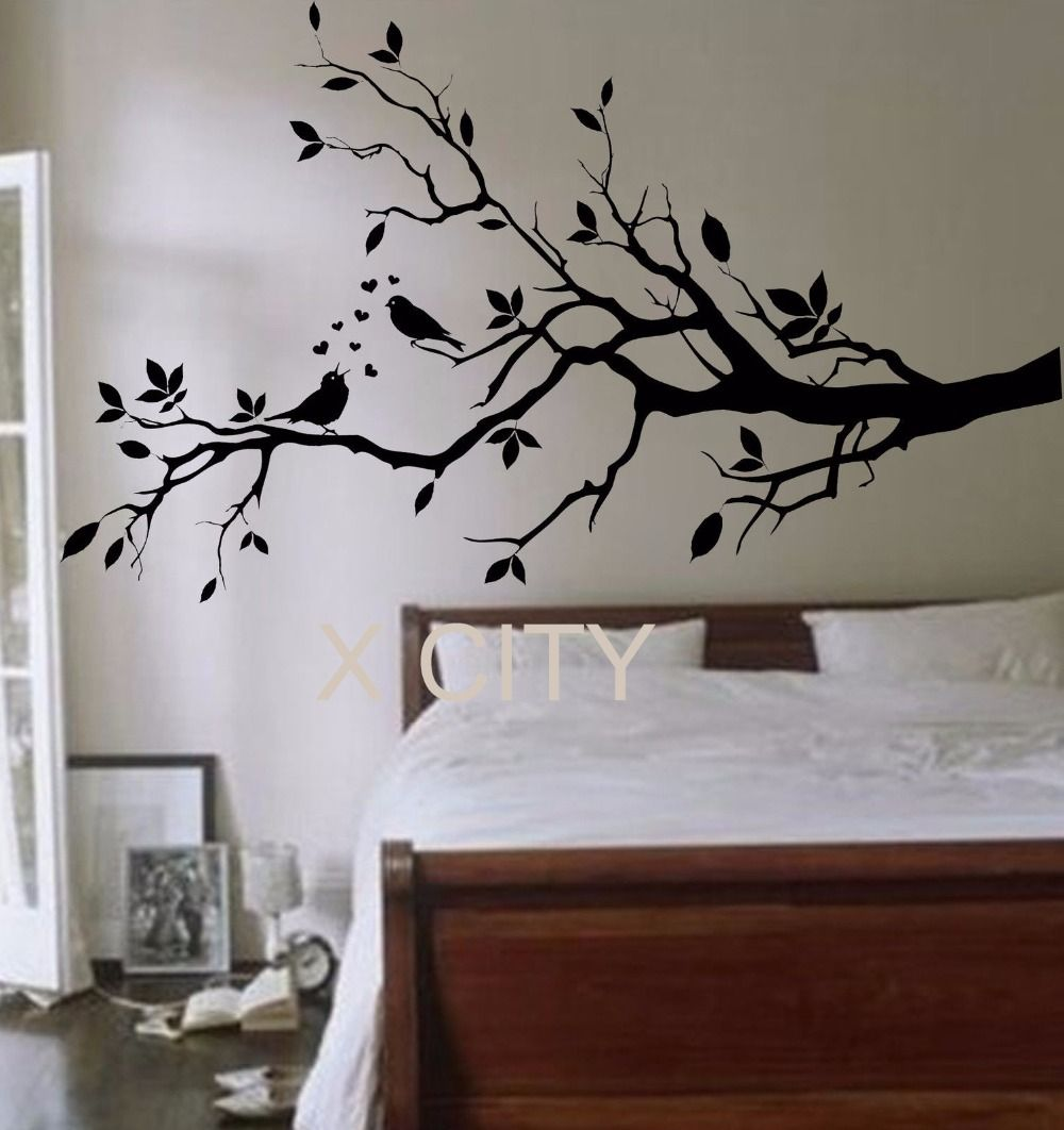 Birds on a branch tree birds giant wall sticker vinyl art decal window door kitchen stencil children nursery decor mural in wall stickers from home garden