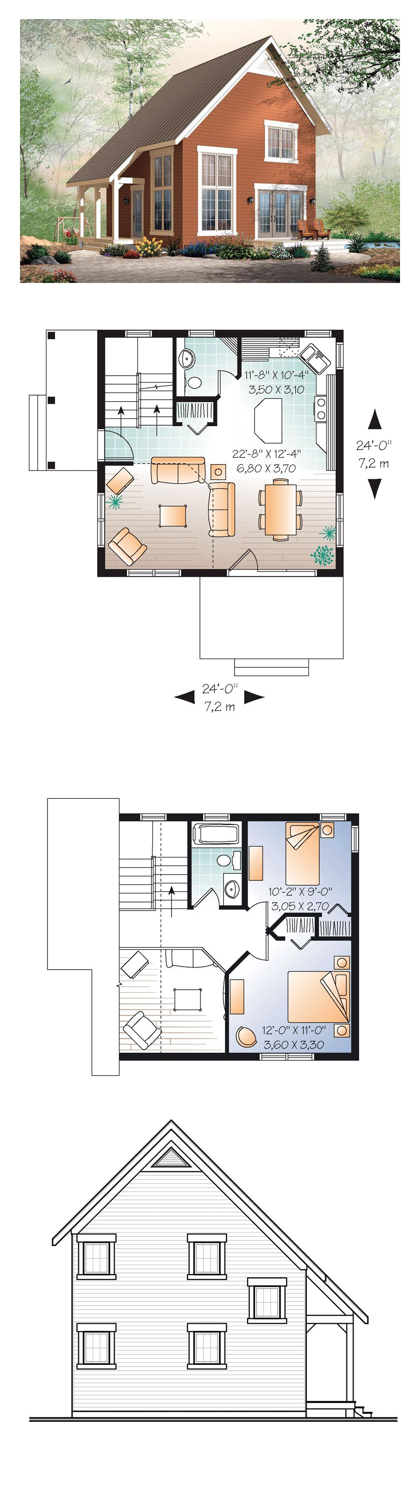 Narrow Lot House Plan 76149 | Total Living Area: 1050 sq. ft., 2 bedrooms and 1.5 bathrooms. Cathedral ceiling in the living room. Kitchen with central island. The staircase is close to the entry for an easy access to the basement. #houseplan #narrowlot