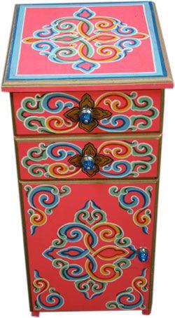 Mongolian Bedside Table Meubles Peints A La Main Mobilier De Salon Deco Bohemienne