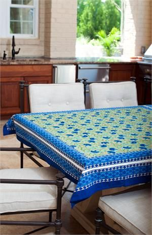 Blue Cornflower Table Cloth Jubilee Traders Fairtrade Handmade