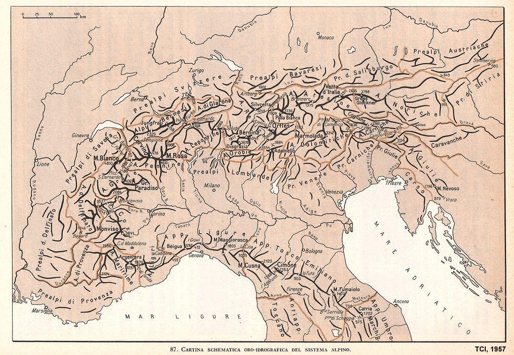 Cartina Italia Idrografica.Altre Mappe Cartina Schematica Oro Idrografica Del Sistema Alpino Tci L Italia Fisica 1957 Mappe Mappa Dell Italia Storia