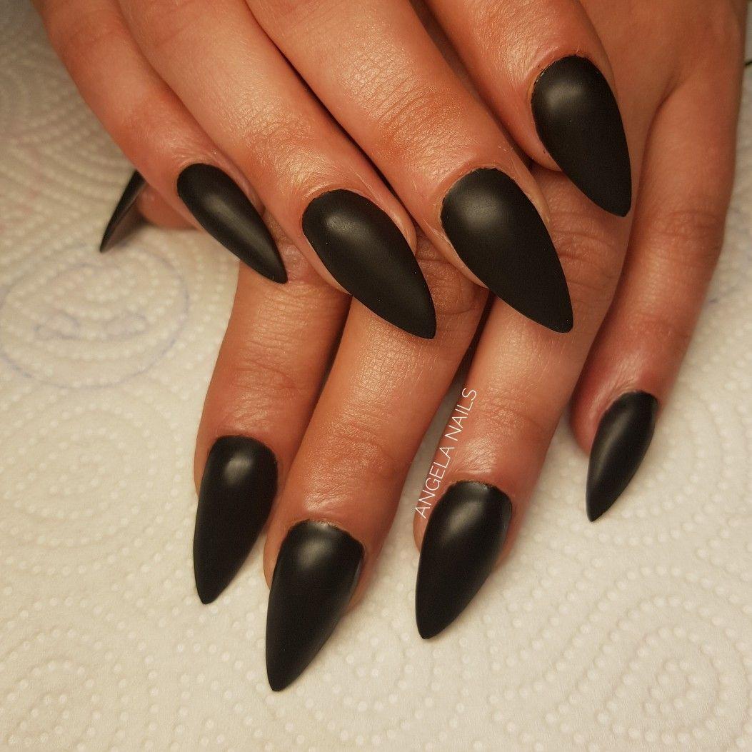 Czarne Szpice Black Stiletto Nails