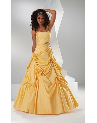 Strapless Beading Pick Up Skirt Empire Prom Dress