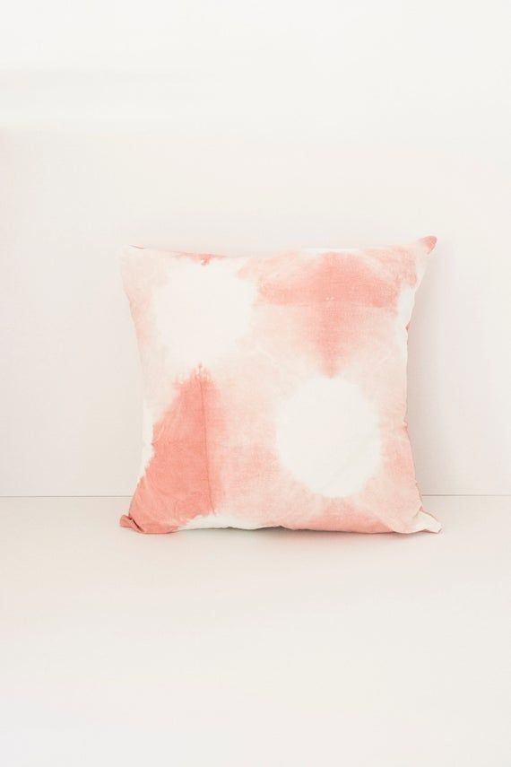 Pink Splotch Tie Dye Shibori Tie Dye Throw Pillow - Insert Included