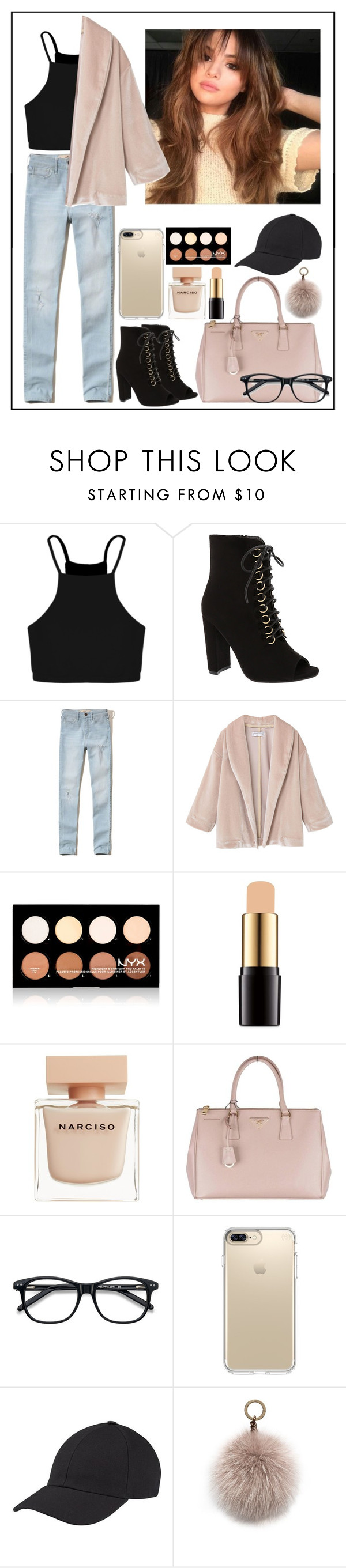 """Run away from paparazzi - day 1"" by maggie1314 ❤ liked on Polyvore featuring Boohoo, Top Moda, Hollister Co., MANGO, NYX, Lancôme, Narciso Rodriguez, Prada, Ace and Speck"