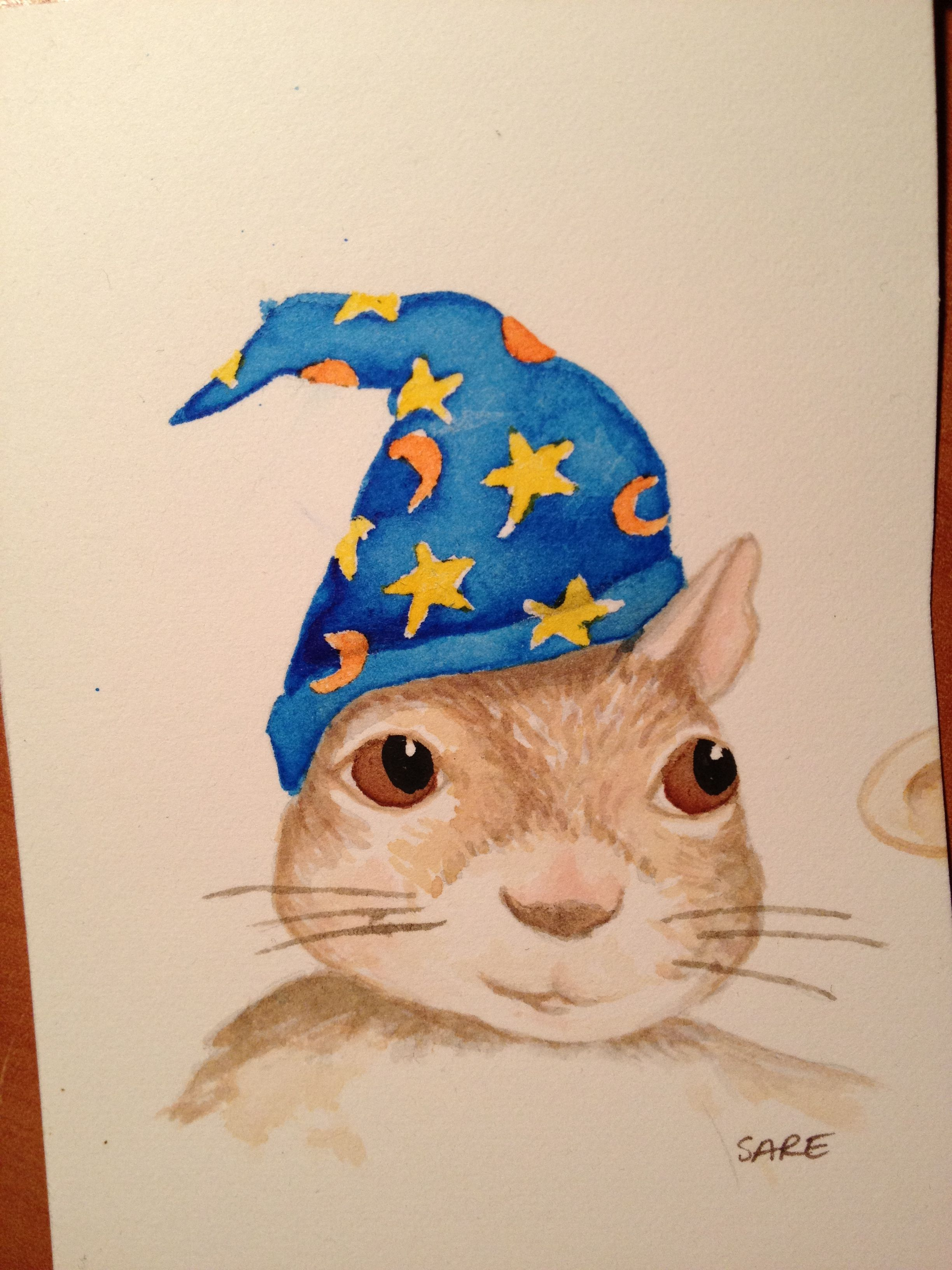 Watercolor books for sale - Watercolor The Squirrel Wizard Test Swatch Christening Fingerprint Guest Book