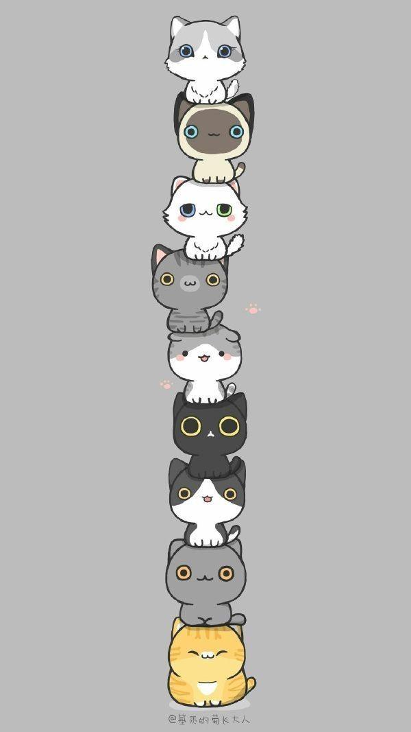 Pin de Charleejlovescats em Super cute cats  (=^・ェ・^=))ノ彡☆ | Adesivos de gato, Papel de parede de gato, Desenhos de gatos