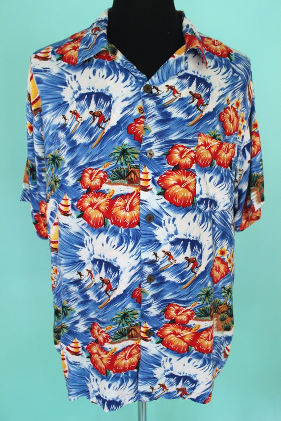 df3e6eb28b9529 Hawaiian Shirt 90's Rayon Pineapple Connection Men's Hawaiian Shirt Aloha  Shirt Tiki Shirt Luau Sh