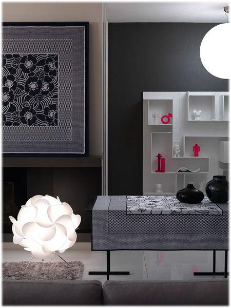 LHarmonie du d/écor Floralie Chemin de Table Jacquard Damass/é//Polyester Blanc 40 x 140 x 140 cm