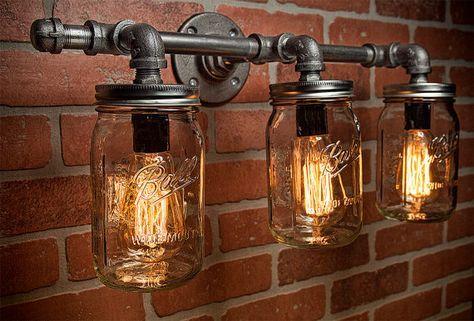 Photo of Mason Jar Light Fixture-Industrial Light-Light-Rustic Light-Vanity Light-Wall Light-Wall Sconce-Steampunk Light-FREE SHIPPING