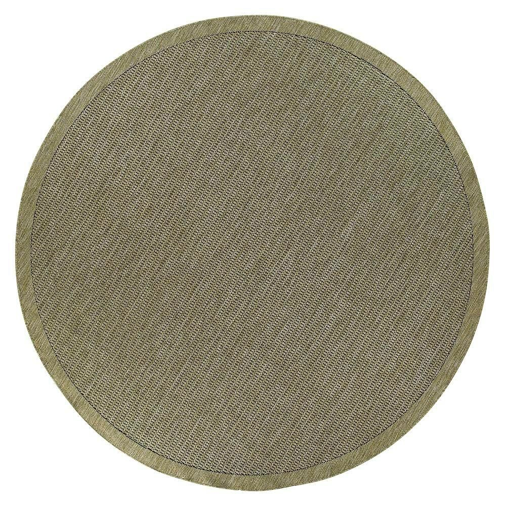 Saddlestitch Green/Black 8 ft. 6 in. Round Area Rug