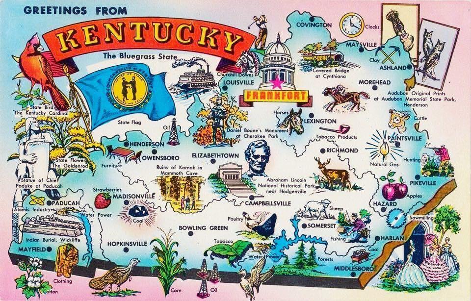 Vintage Kentucky postcard! in 2019 | Kentucky state map ...